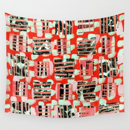 Soft Squares in Sweet Red Wall Tapestry