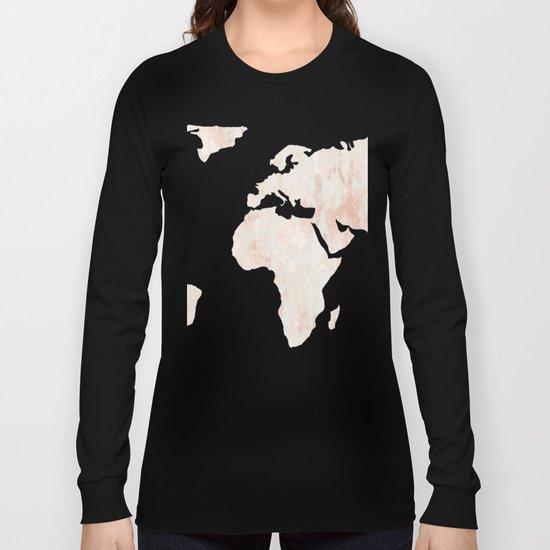 Marble World Map Light Pink Rose Gold Shimmer Long Sleeve T-shirt
