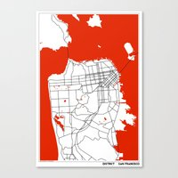 san francisco map Canvas Prints featuring District San Francisco Map by Studio Tesouro