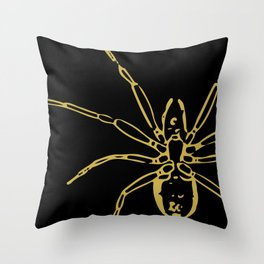 Spider in Gold Throw Pillow