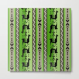 Llamas_Green and WarmGray Metal Print
