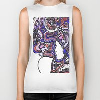 techno Biker Tanks featuring Salmon Techno by Madison R. Leavelle