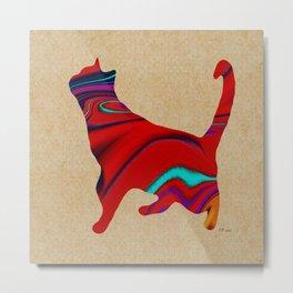 Red Standing Cat Metal Print