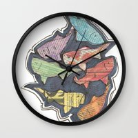 newspaper Wall Clocks featuring Newspaper Fish by Kate Allison