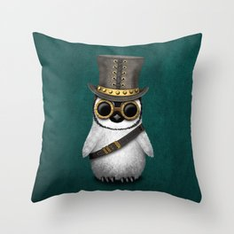 Steampunk Baby Penguin on Blue Throw Pillow