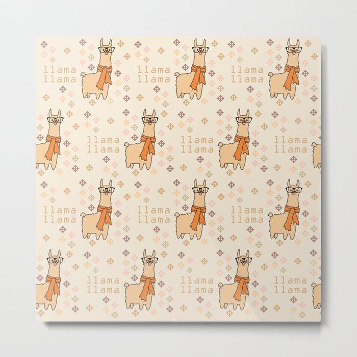 Llama Llama Pattern Metal Print