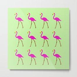 Flamingos in green Metal Print