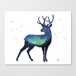 Galaxy Reindeer Silhouette with Northern Lights Canvas Print