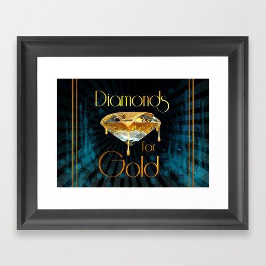 Diamonds for Gold Splatter Framed Art Print