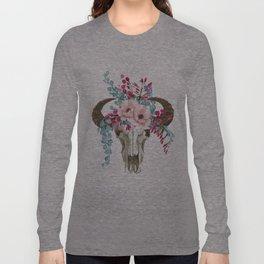 Bohemian bull skull with flowers Long Sleeve T-shirt