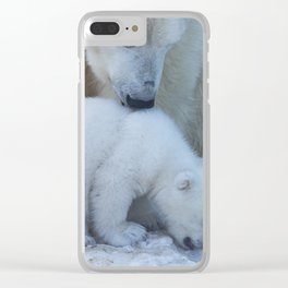 Polar Bear Mother and Cub portrait. Clear iPhone Case