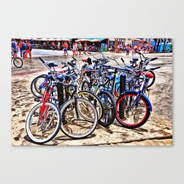 A gathering of bicycles Canvas Print