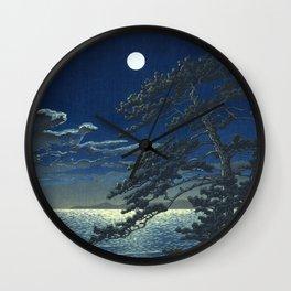 Kawase Hasui, Moonlight Over Ninomiya Beach - Vintage Japanese Woodblock Print Art Wall Clock