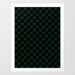 Cadmium Green on Black Spirals Art Print