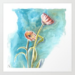 Blooms on Turquoise Art Print