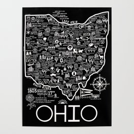 Map of Ohio Poster