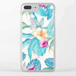 Blue tropical flowers Clear iPhone Case