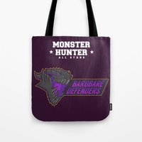 monster hunter Tote Bags featuring Monster Hunter All Stars - BD by Bleached ink