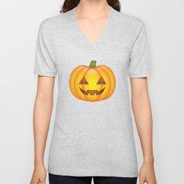 Cute Orange Halloween Pumpkin Illustration Unisex V-Neck