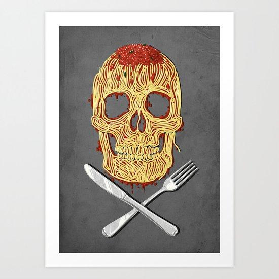 Spaghetti Skull Art Print