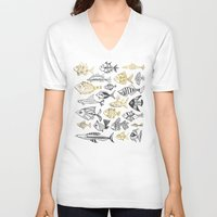 black and gold V-neck T-shirts featuring Inked Fish – Black & Gold by Cat Coquillette