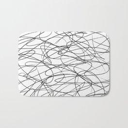 Hand Drawn Scribbles (black/white) Bath Mat