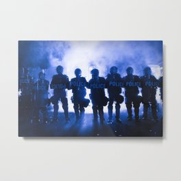 Riot Police Line - Dark Blue Cast Metal Print
