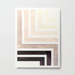 Grey Mid Century Modern Watercolor Colorful Ancient Aztec Art Pattern Minimalist Geometric Pattern Metal Print