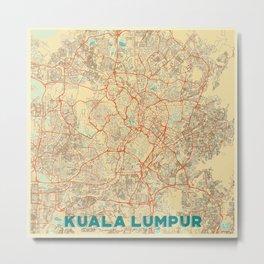 Kuala Lumpur Map Retro Metal Print