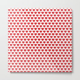 Pixelated Red Hearts Metal Print