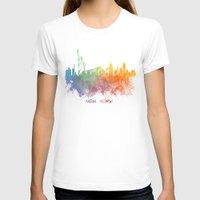 new york skyline T-shirts featuring Colored skyline New York by jbjart