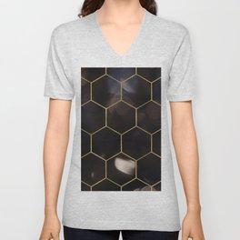 Dark bokeh gold hexagons Unisex V-Neck