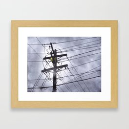 Street Light and Power Lines Framed Art Print