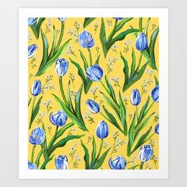 Blue Tulips + Babys Breath   Yellow Art Print