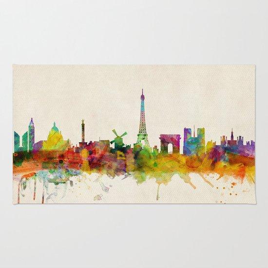 Paris Skyline Watercolor Rug