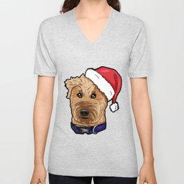 Irish Soft Coated Wheaten Terrier Dog Christmas Hat Unisex V-Neck
