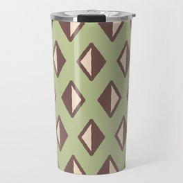 Diamond Pattern Sage Green and Brown Travel Mug