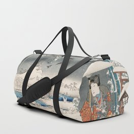 Japanese Vintage Kunisada Hiroshige Snowy Landscape Duffle Bag