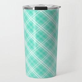 Pale Blue and White Diagonal Plaid Tartan Check Travel Mug
