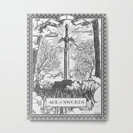 Legend of Zelda Master Sword Vintage Tarot Scene Metal Print