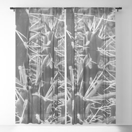 Black and White Cactus Sheer Curtain