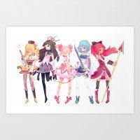 madoka Art Prints featuring Madoka by sarlisart