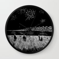 fireworks Wall Clocks featuring Fireworks by Mr.Willow