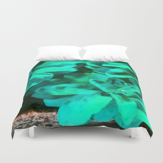 Green Pinecone Roses Duvet Cover