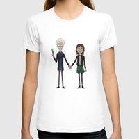 tim burton T-shirts featuring Twelfth & Clara (Burton style) by San Fernandez
