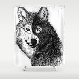 Ying Yang Wolf Shower Curtain
