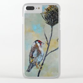 Goldfinch on Thistle Clear iPhone Case