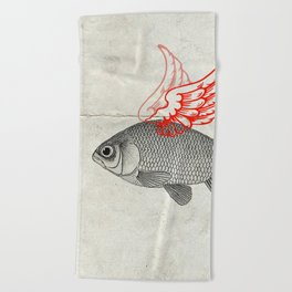 Flying Goldfish Beach Towel