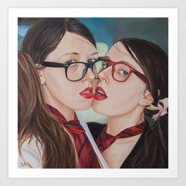 Twins. Cheek to cheek Art Print