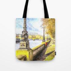 River Thames Path Watercolour Tote Bag